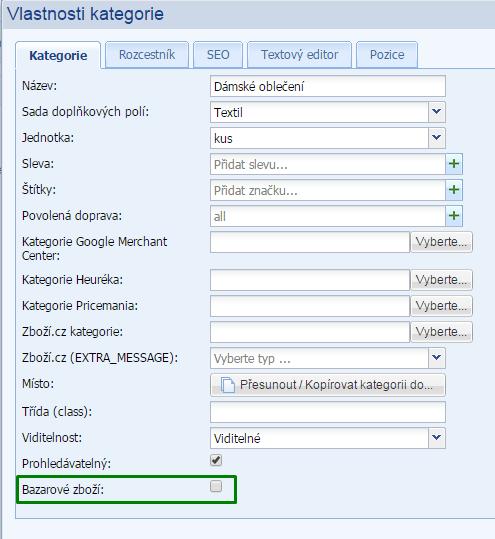 nastavenie kategórie ako bazárového zboží - xml feed pre zboží.cz