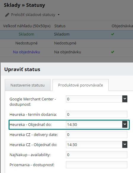 dostupnostný heureka xml feed, nastavenie odoslania objednávky na heureka.sk