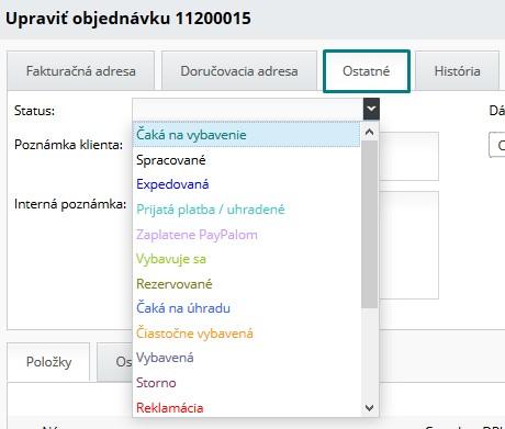 editácia statusu objednávky