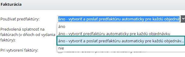 nastavenie používania predfaktúr vo flox3