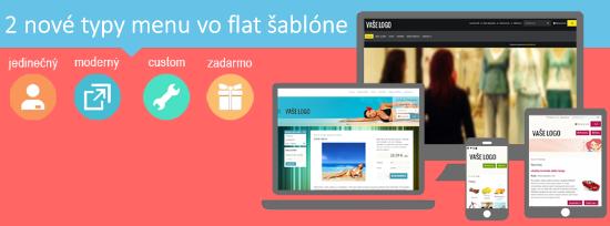 flat šablóna vo flox 3 ponúka až 5 typov menu