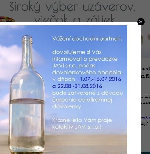 vyskakovacie okno s informáciou o dovolenke