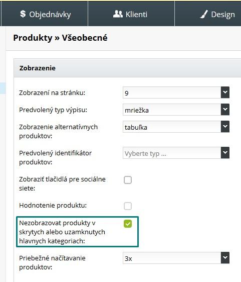 nastavenia vyhľadávania produktov v kategóriách