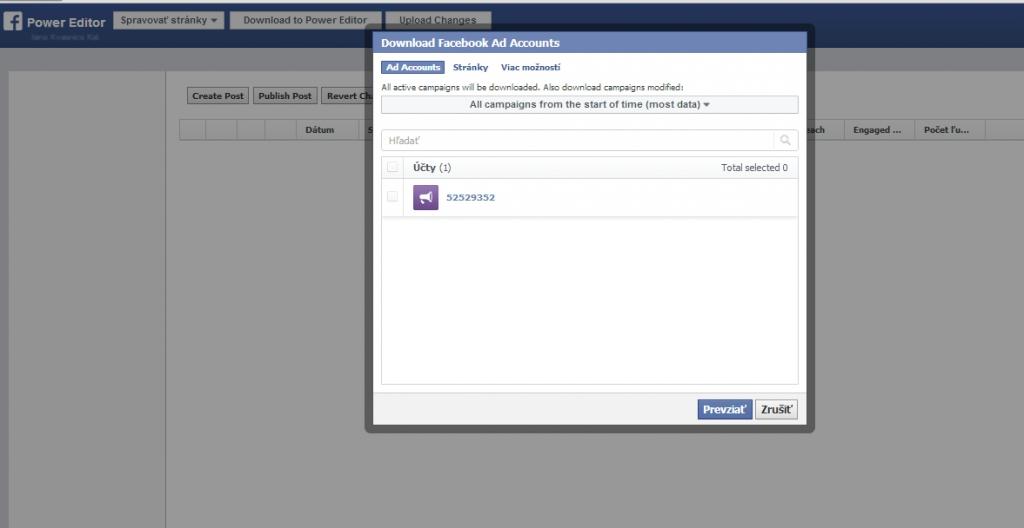 facebook power editor prvé prihlásenie