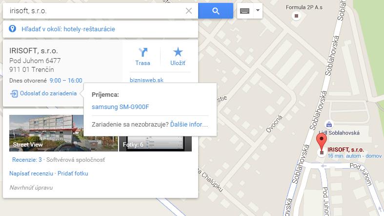 zdieľanie google maps so smartphonom