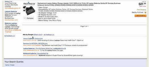 hypertextové reklamy pod výpisem produktů