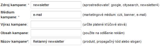 URL biulder, sledovanie reklamných kampaní