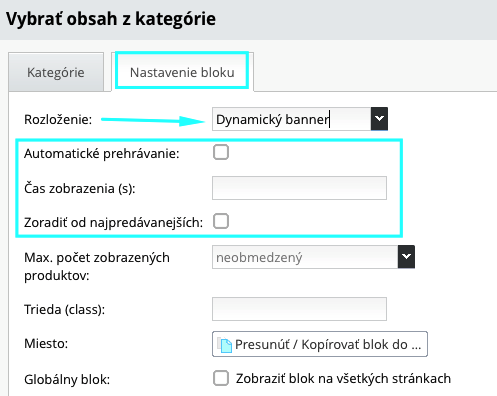 dynamický banner z produktov kategórií na e-shope