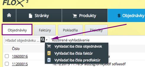 vyhľadávanie v objednávkach a faktúrach v e-shope vo FLOX 3