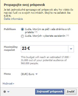 propagácia príspevkov, výber publika pri propagovaní príspevku na facebooku