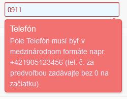 validácia telefónneho čísla