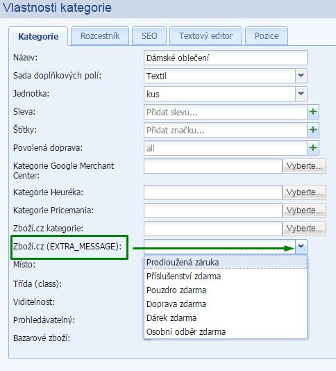 extra message pro Zboží.cz